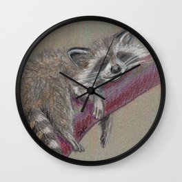 Racoon sleeping Wall Clock