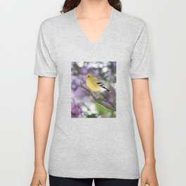 American goldfinch female bokeh Unisex V-Neck
