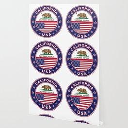 California, California t-shirt, California sticker, circle, California flag, white bg Wallpaper