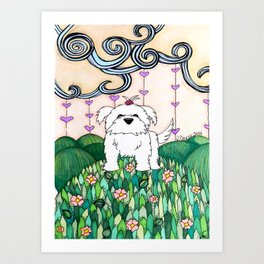 Cameo the Dog on a Hill Art Print