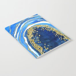 Cobalt blue and gold geode in watercolor (2) Notebook