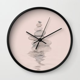 Balanced Harmony Zen Pebble soft pink Wall Clock