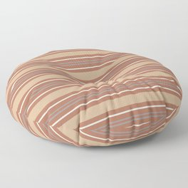 Cavern Clay SW 7701 and Accent Colors Thick and Thin Horizontal Lines Bold Stripes 2 Floor Pillow