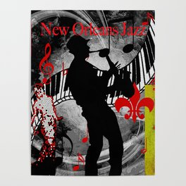 New Orleans Jazz Saxophone And Piano Music Poster
