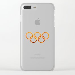 Flaming Olympic Rings Clear iPhone Case