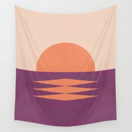 Sunset Geometric Pink Midcentury style Wall Tapestry