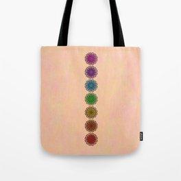 Colorful Rainbow Chakra Mandala , Yoga & Meditation Seven Sacred Mandalas Flower Painting Tote Bag