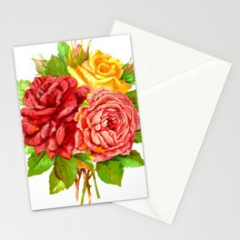 Rose Flower Bouquet Stationery Cards