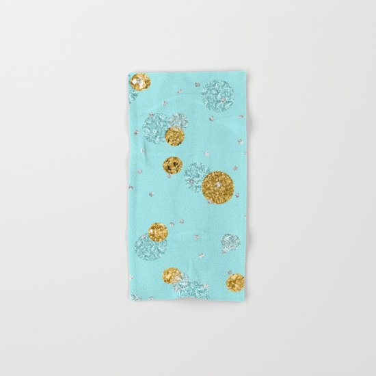 Treasures on aqua - Gold glitter polkadots on turquoise background Hand & Bath Towel