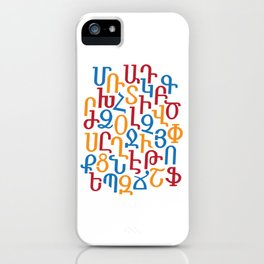 ARMENIAN ALPHABET MIXED - Red, Blue and Orange iPhone Case