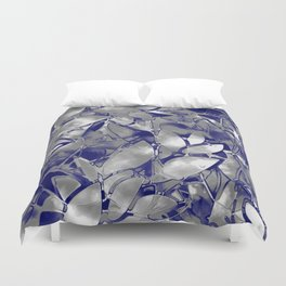 Grunge Art Silver Floral Abstract G169 Duvet Cover