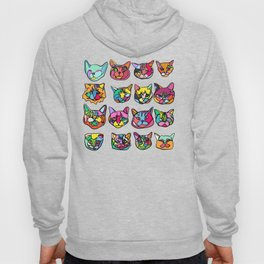 Too Much Catnip (Abstract Neon Psychedelic Cats Contour Art on Purple) Hoody