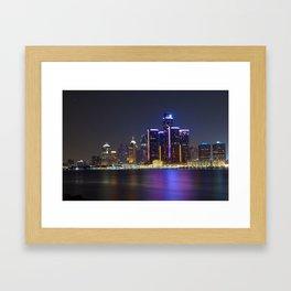 Detroit Skyline at Night Framed Art Print