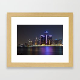 Detroit Skyline at Night Framed Art Print