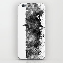 Madison skyline in black watercolor on white background iPhone Skin