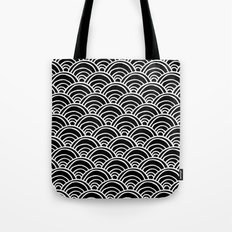 Waves All Over - White on Black Tote Bag