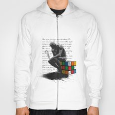 WRITER'S BLOCK the thinker Rubrix cube illustration Hoody
