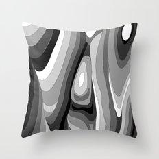 Monochromatic Psychedelic Gray Swirls Pattern Throw Pillow
