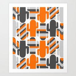 Modern striped cacti Art Print