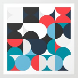 Circles Curves Shapes, Abstract and Geometry, Red, White, blues, black Art Print