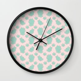 Greenery over Pink Pattern Wall Clock