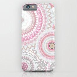 Pink Silver Gold Mandalas iPhone Case