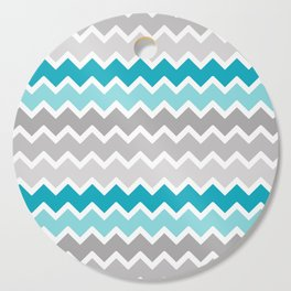Turquoise Teal Blue Gray Chevron Cutting Board