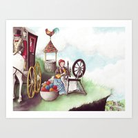 Mother Hulda - Spinning on the high road Art Print