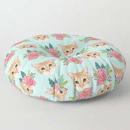 Tabby cat florals flowers must have cat themed gifts pet portrait cat lady mint pastel cat art fur Floor Pillow