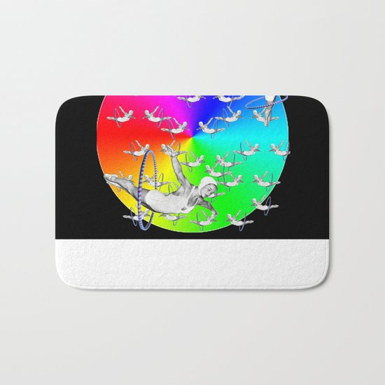 Synchronised Rainbow Hoop Divers Bath Mat