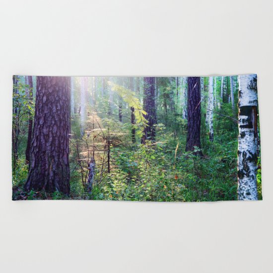 Sunny morning in the forest Beach Towel