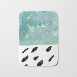 Teal abstract and black rain Bath Mat