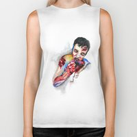 zombie Biker Tanks featuring Zombie by Camille Ratté