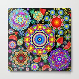 Mandalas & Exotic Fruits Pattern Metal Print