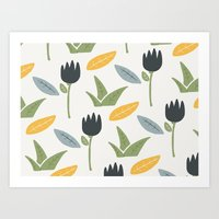 floral pattern Art Prints featuring Floral Pattern by Mark Conlan