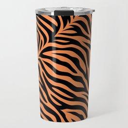 Modern tiger skin stripe illustration - orange and black Travel Mug