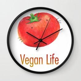 Vegan Life happy tomato Wall Clock
