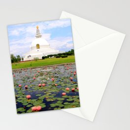 World Peace Pagoda with Lotus Flowers Stationery Cards