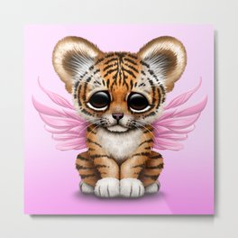 Cute Baby Tiger Cub with Fairy Wings on Pink Metal Print