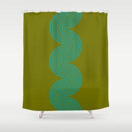 groovy minimalist pattern aqua waves on olive Shower Curtain