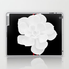 White Succulent On Black #decor #society6 #buyart Laptop & iPad Skin