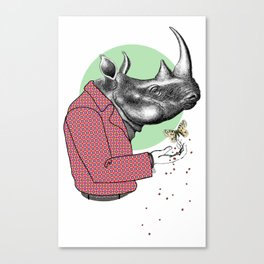 Cool Dude Rhino and Butterfly Canvas Print