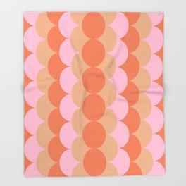 Abstract Floral Geometric Circles Pattern in Muted Orange and Pink Throw Blanket