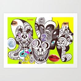 Noesis in India (collage fine artwork) Art Print