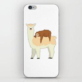 Cute Llama with a Sleeping Sloth Gift iPhone Skin