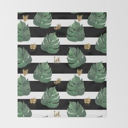Tropical leaves pattern on stripes background Throw Blanket