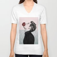 mouth V-neck T-shirts featuring Mouth Flower by Sofia Azevedo