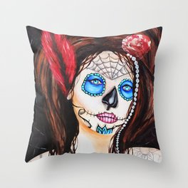 1920's Flapper Sugar skull, Dia de los muertos Throw Pillow