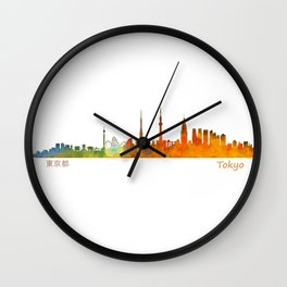 Tokyo City Skyline Hq V1 Wall Clock