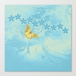 butterfly and flowers in an abstract blue grunge landscape Canvas Print